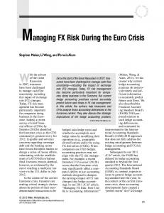 Managing FX Risk During the Euro Crisis