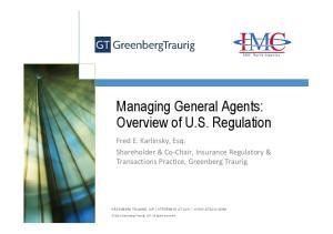 Managing General Agents: Overview of U.S. Regulation