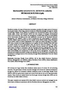 MANAGING GHANA S OIL REVENUE: GHANA PETROLEUM FUNDS (Gpfs)