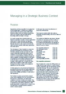 Managing in a Strategic Business Context