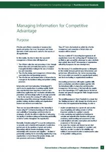 Managing Information for Competitive Advantage