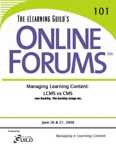 Managing Learning Content: LCMS vs CMS