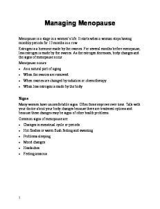 Managing Menopause. Signs