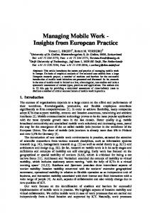 Managing Mobile Work - Insights from European Practice