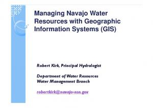 Managing Navajo Water Resources with Geographic Information Systems (GIS)