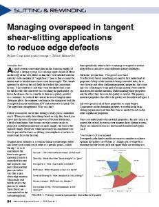 Managing overspeed in tangent shear-slitting applications to reduce edge defects