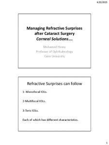 Managing Refractive Surprises after Cataract Surgery Corneal Solutions