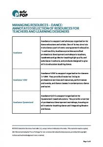 MANAGING RESOURCES DANCE: ANNOTATED SELECTION OF RESOURCES FOR TEACHERS AND LEARNING DESIGNERS