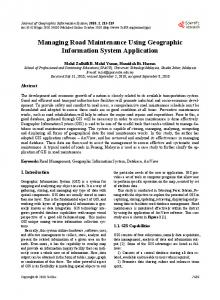 Managing Road Maintenance Using Geographic Information System Application