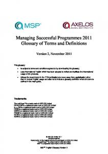 Managing Successful Programmes 2011 Glossary of Terms and Definitions