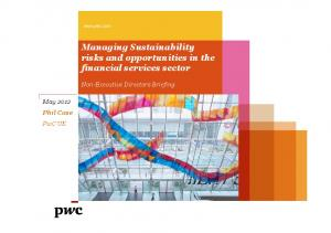 Managing Sustainability risks and opportunities in the financial services sector