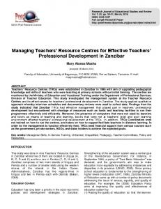 Managing Teachers Resource Centres for Effective Teachers Professional Development in Zanzibar