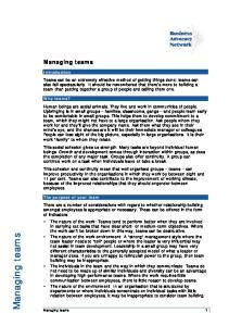 Managing teams. Managing teams. Introduction
