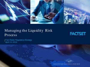 Managing the Liquidity Risk Process