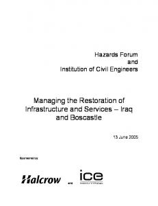 Managing the Restoration of Infrastructure and Services Iraq and Boscastle