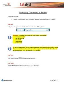 Managing Transcripts in Radius
