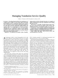 Managing Transfusion Service Quality