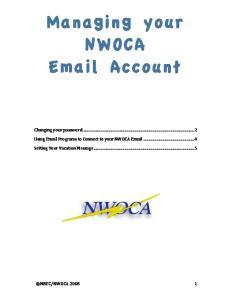 Managing your NWOCA  Account