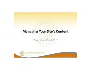 Managing Your Site s Content