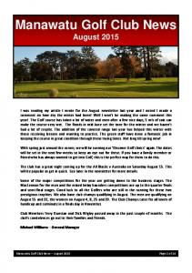 Manawatu Golf Club News