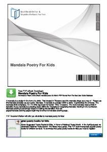 Mandala Poetry For Kids