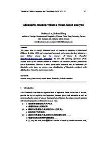 Mandarin emotion verbs: a frame-based analysis
