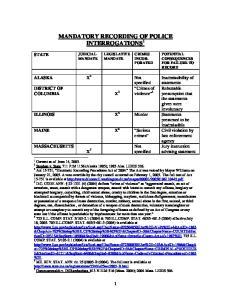MANDATORY RECORDING OF POLICE INTERROGATIONS 1