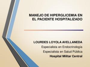 MANEJO DE HIPERGLICEMIA EN EL PACIENTE HOSPITALIZADO