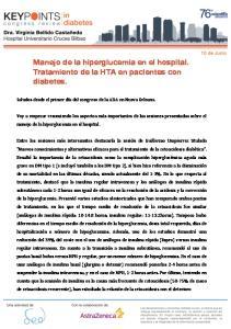 Manejo de la hiperglucemia en el hospital. Tratamiento de la HTA en pacientes con diabetes
