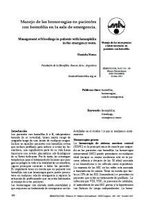Manejo de las hemorragias en pacientes con hemofilia en la sala de emergencia