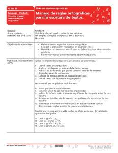 Manejo de reglas ortográficas. para la escritura de textos