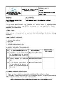 MANEJO DE SOLUCIONES DESINFECTANTES