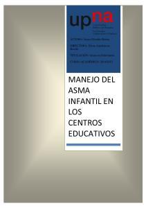 MANEJO DEL ASMA INFANTIL EN LOS CENTROS EDUCATIVOS