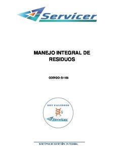 MANEJO INTEGRAL DE RESIDUOS CODIGO: S-I-05