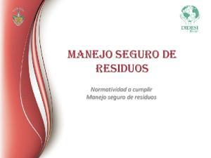 MANEJO SEGURO DE RESIDUOS. Normatividad a cumplir Manejo seguro de residuos