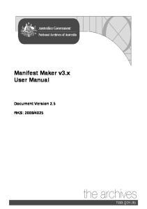 Manifest Maker v3.x User Manual