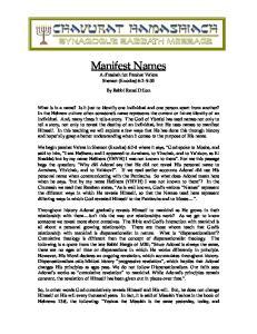 Manifest Names A d rashah for Parshat Va era Shemot (Exodus) 6:2 9:35