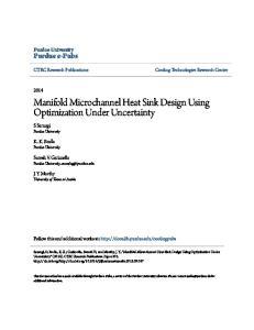Manifold Microchannel Heat Sink Design Using Optimization Under Uncertainty