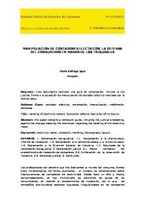 MANIPULACION DE CONTADORES ELECTRICOS: LA DEFENSA DEL CONSUMIDOR EN MANOS DE LOS TRIBUNALES