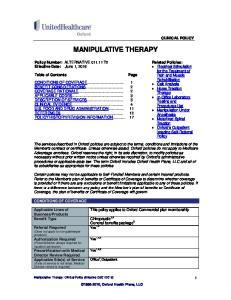 MANIPULATIVE THERAPY