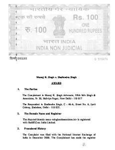 Manoj K. Singh v. Shailendra Singh AWARD