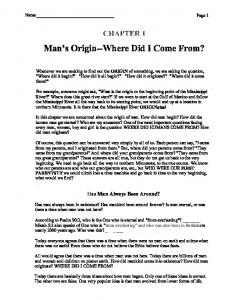 Man's Origin--Where Did I Come From?