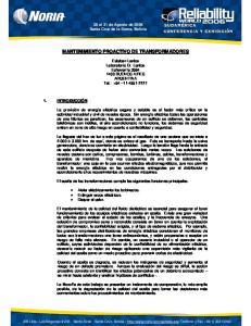 MANTENIMIENTO PROACTIVO DE TRANSFORMADORES