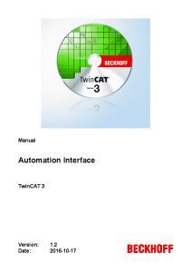 Manual. Automation Interface. TwinCAT 3. Version: Date: