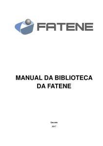 MANUAL DA BIBLIOTECA DA FATENE
