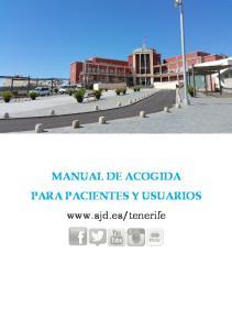 MANUAL DE ACOGIDA PARA PACIENTES Y USUARIOS