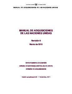 MANUAL DE ADQUISICIONES DE LAS NACIONES UNIDAS