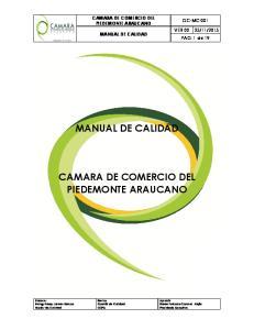 MANUAL DE CALIDAD CAMARA DE COMERCIO DEL PIEDEMONTE ARAUCANO