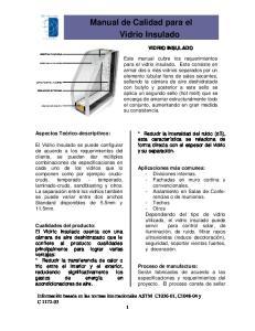 Manual de Calidad para el Vidrio Insulado