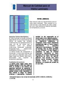 Manual de Calidad para el Vidrio Laminado